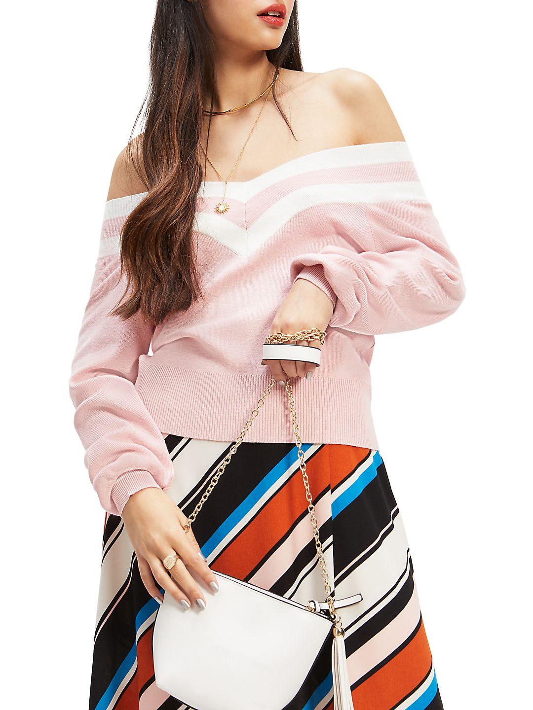 Sports Striped Bardot Sweater