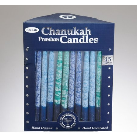 Rite Lite Judaica Premium Chanukah Candles Hand Crafted. Shades of Blue. Box of - Chanukah Candles For Sale