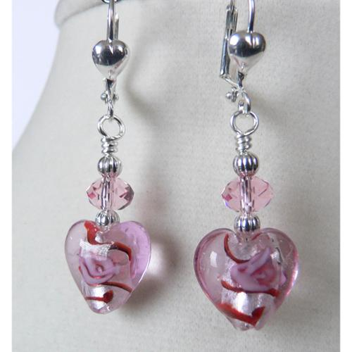 Palmtree Gems Silvertone 'Daphney' Crystal Heart Earrings