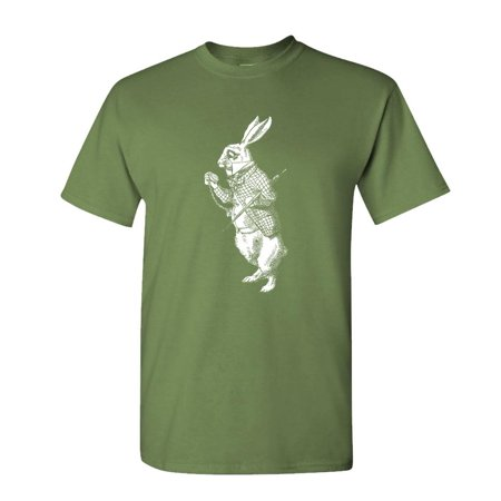 WHITE RABBIT - retro alice in wonderland - Cotton Unisex T-Shirt (Alice In Chains Halloween Shirt)