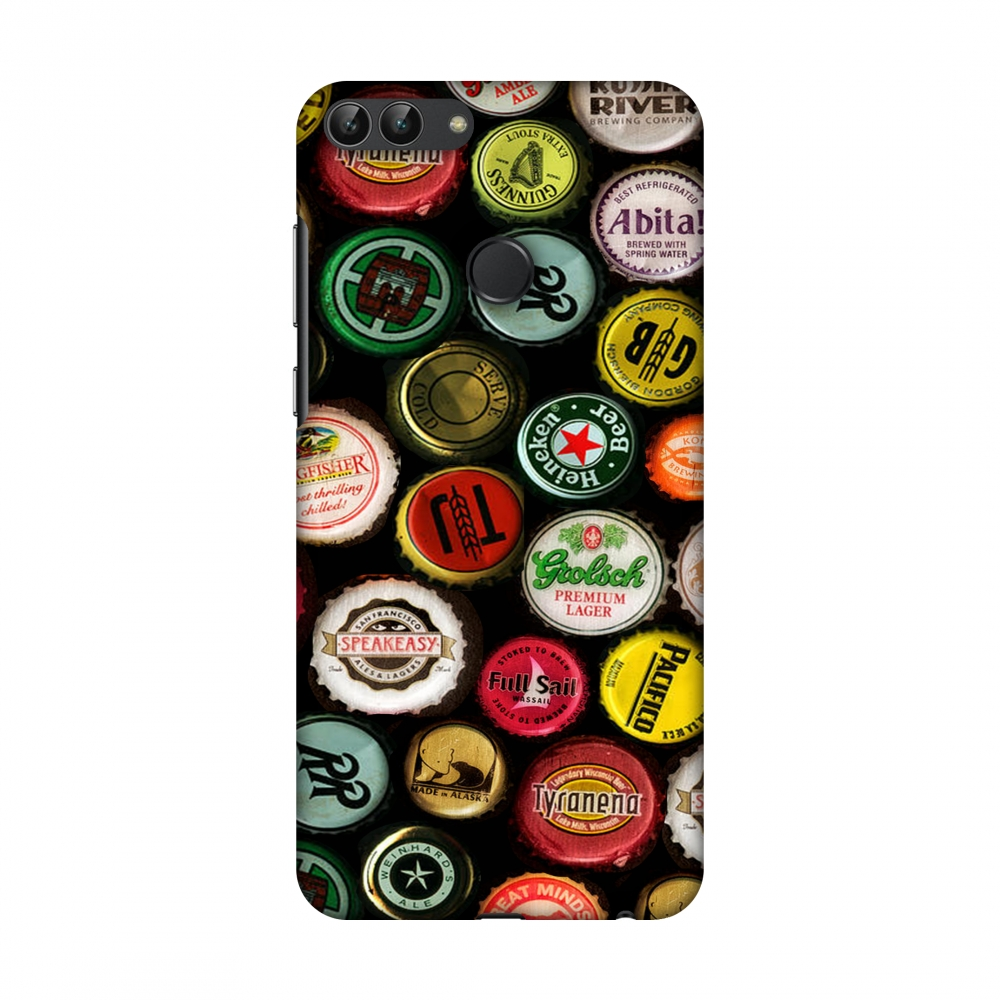 Huawei Enjoy 7S Case, Huawei P Smart Case - Beer Caps Yellow,Hard Plastic Back Cover, Slim Profile Cute Printed Designer Snap on Case with Screen Cleaning Kit