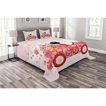 Quilted Heart Box (Cars Bedspread Set, Girl on a Car with Floral Present Boxes Butterflies Daisies Little Hearts, Decorative Quilted Coverlet Set with Pillow Shams Included, Pink Dark Coral Black, by Ambesonne )