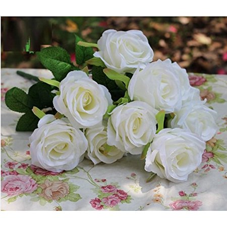 Ann Flower - Real Real Artificial Rose, DIY Decoration and Flower Arrangement, Table Flower, Silk 10 heads (White)