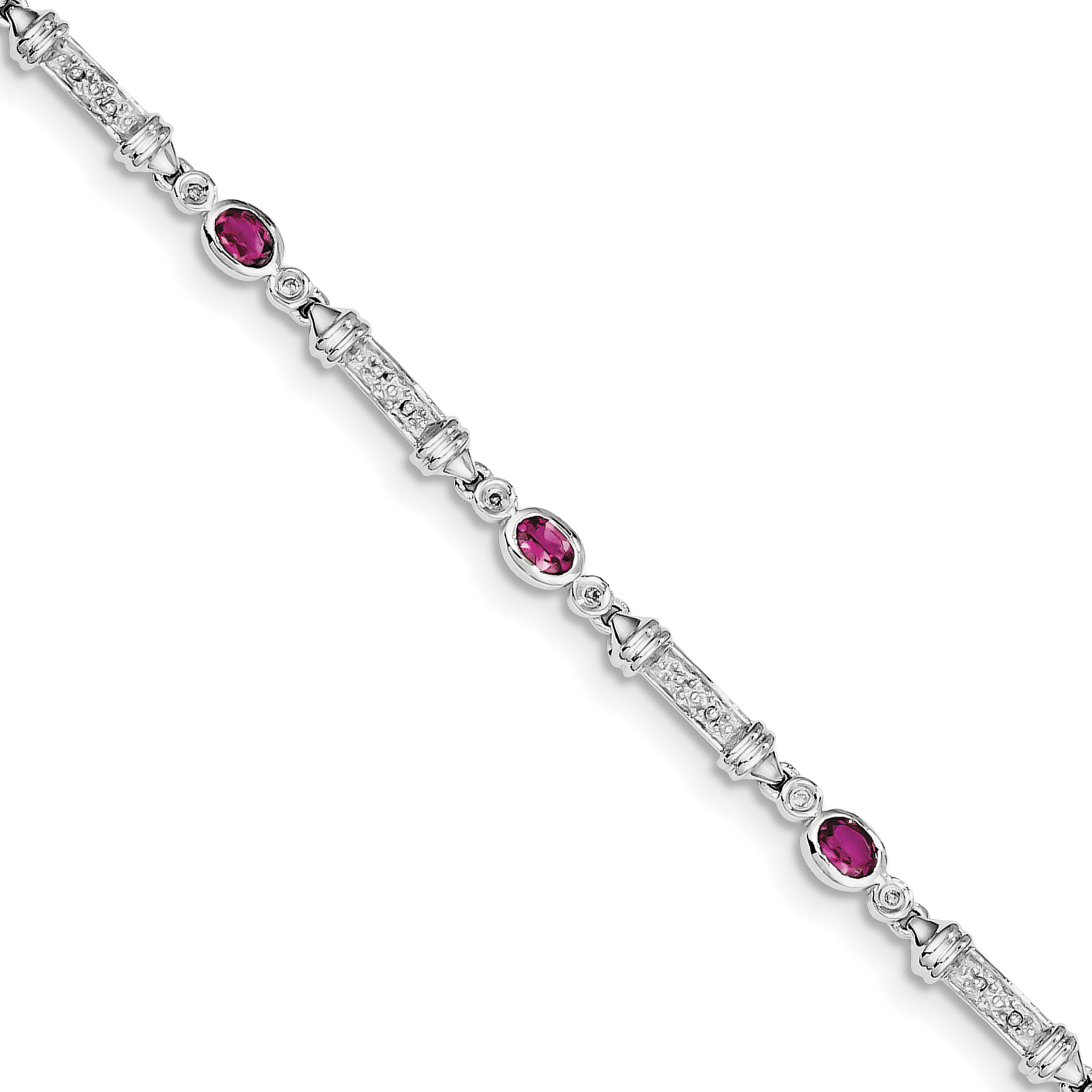 Roy Rose Jewelry Sterling Silver Pink Tourmaline and Diamond Bracelet ~ Length 7'' inches by