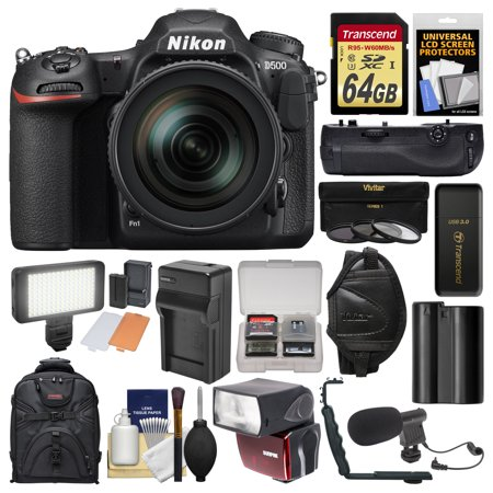 Nikon D500 Wi-Fi 4K Digital SLR Camera & 16-80mm VR Lens with 64GB Card + Backpack + Flash + Led Light + Mic + Battery & Charger + Grip + Kit