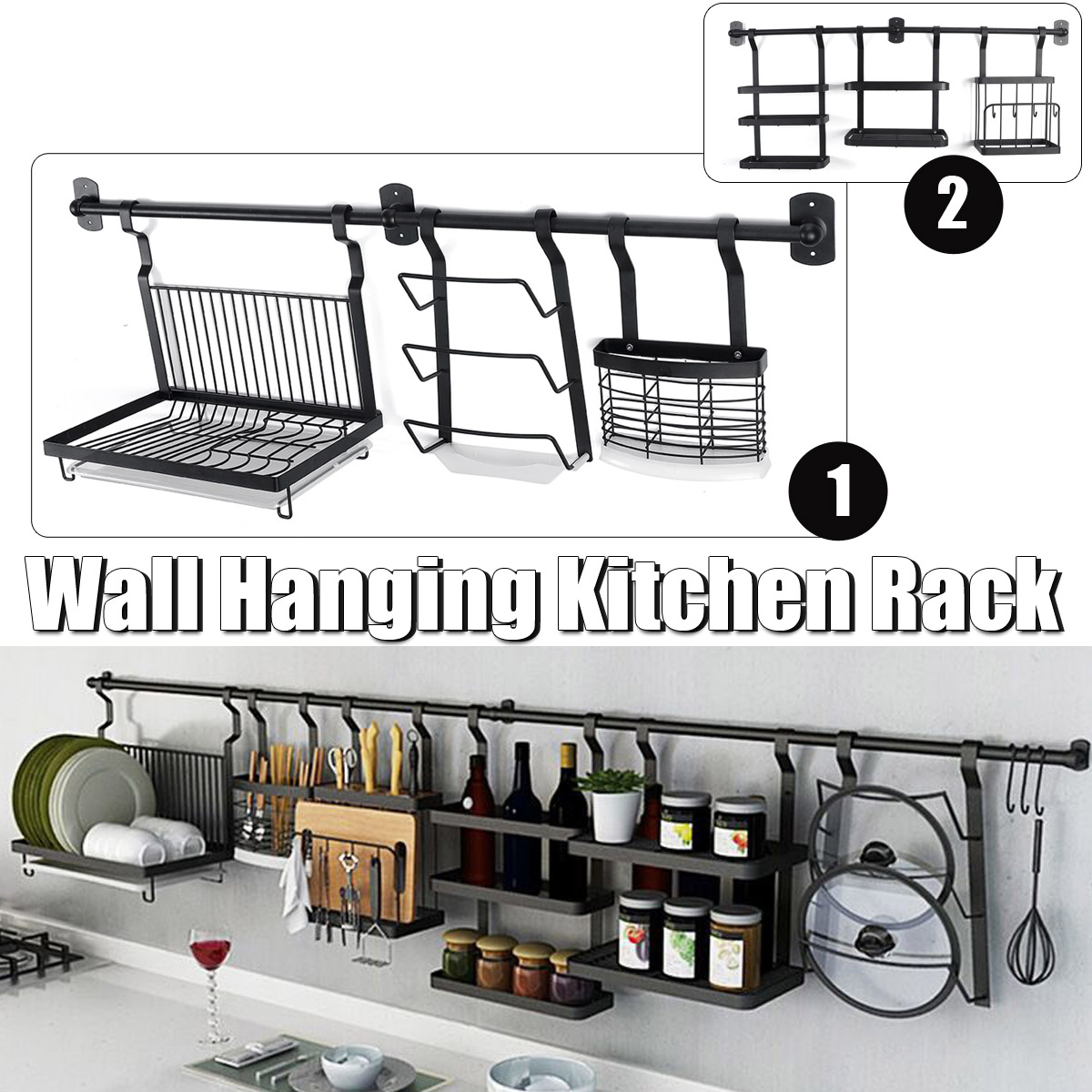 Kitchen Utensil Rack Stainless Steel Hanging Rack Rail Organize Kitchen Rack 2 Type For Choice Baking Paint Wall Mounted Storage Organizer Walmart Com Walmart Com