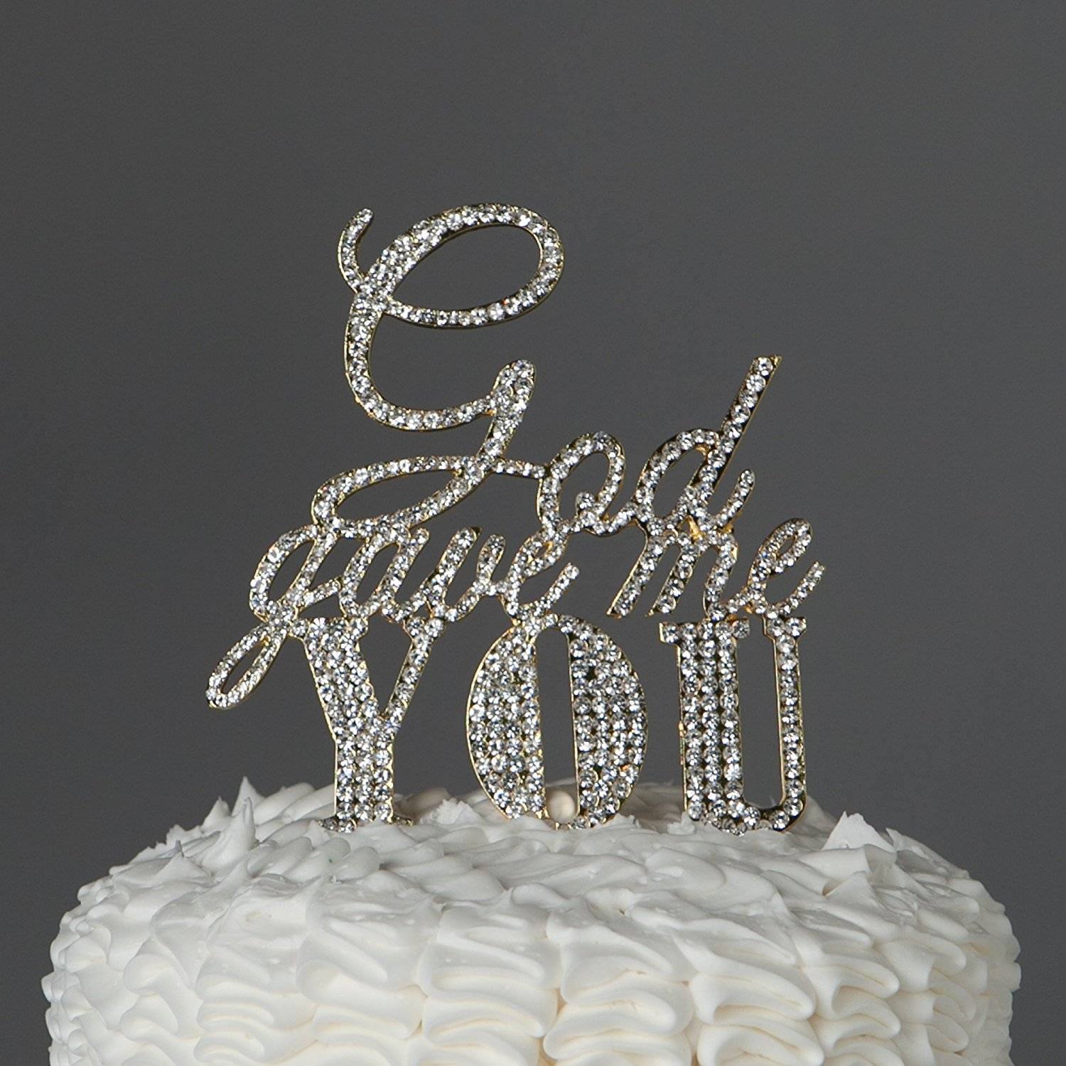 God Gave Me You Cake Topper for Wedding or Anniversary, Gold Religious Christian Party Decoration