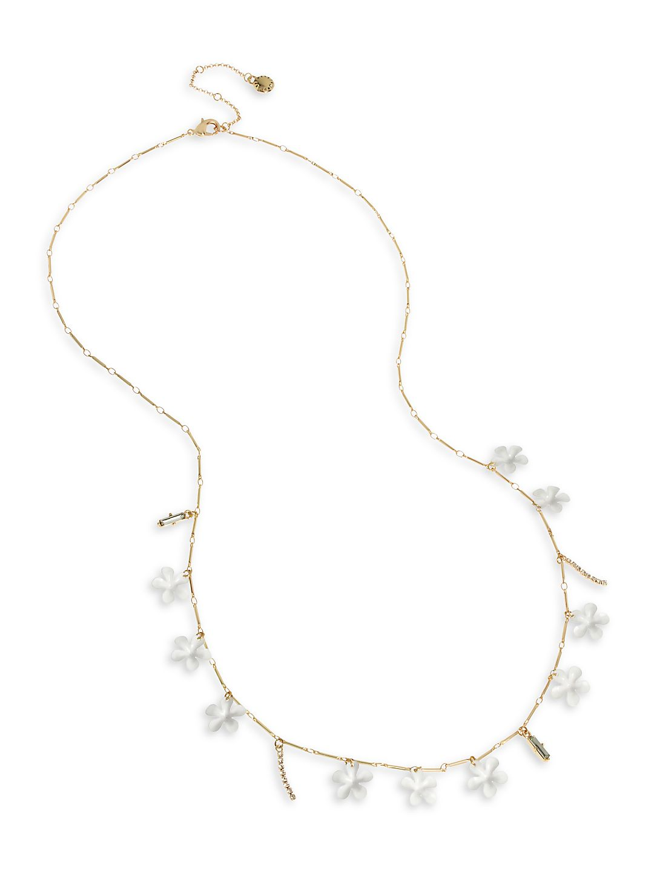 Flower Child Goldtone and Crystal Long Station Necklace