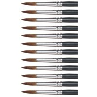 Dynasty 5800 Round Camel Hair Short Enameled Wood Handle Watercolor Paint Brush, Size 10, 1-1/16 in Hair, Black, Pack of 12