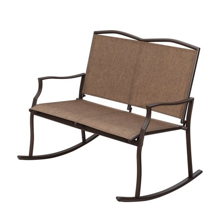 SunLife Outdoor Sling Rocking Chair Built for 2, Loveseat, Bench, Patio, Garden, Balcony Frame Color: Bronze, Brown, Taupe/Fabric Color: Khaki, Sand ()