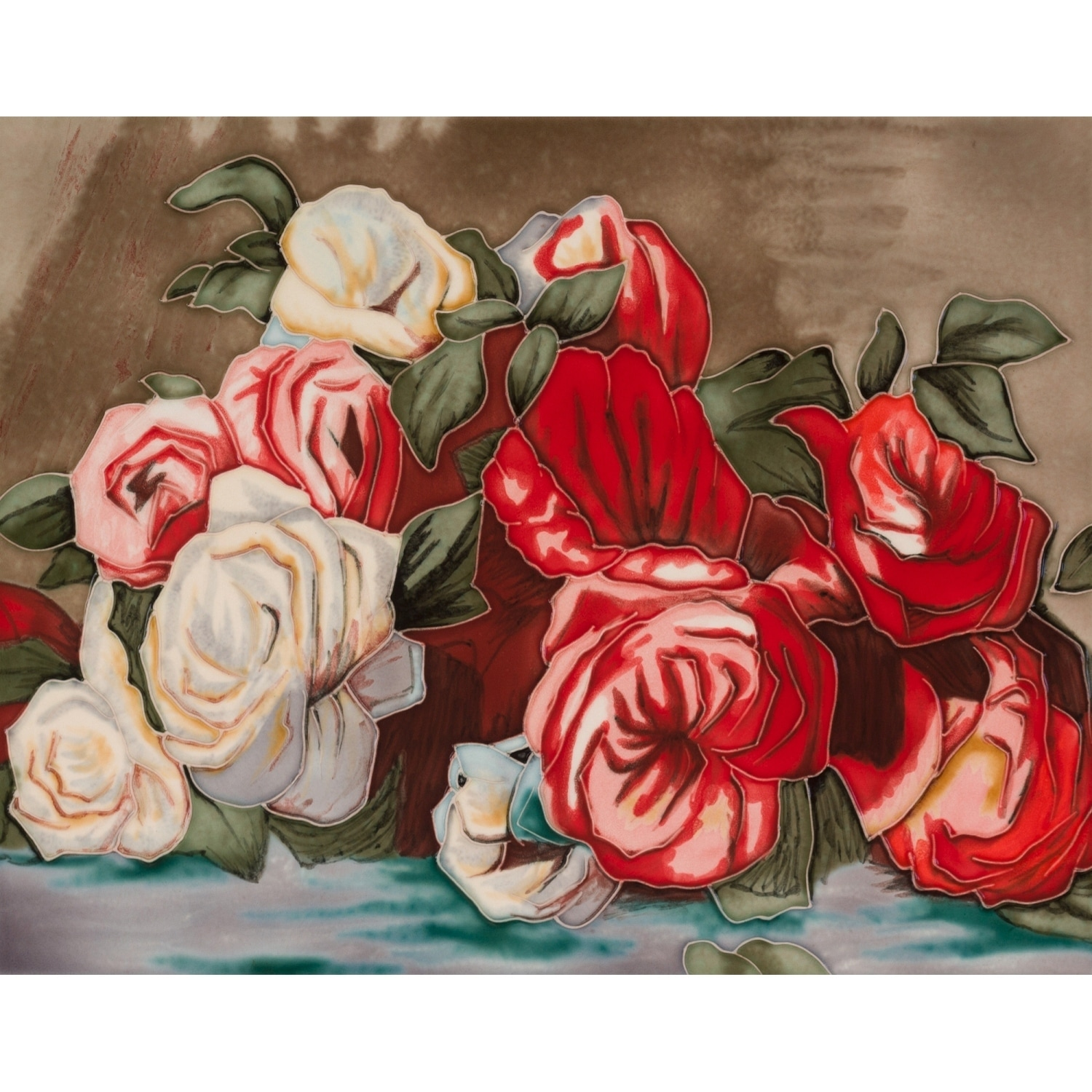 La Pastiche Pierre-Auguste Renoir 'Discarded Roses' Hand Painted Felt Backed Wall Accent Tile