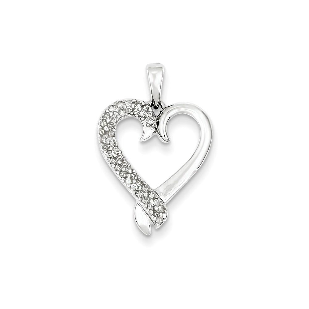 Sterling Silver Diamond Heart Pendant. Carat Wt- 0.2ct