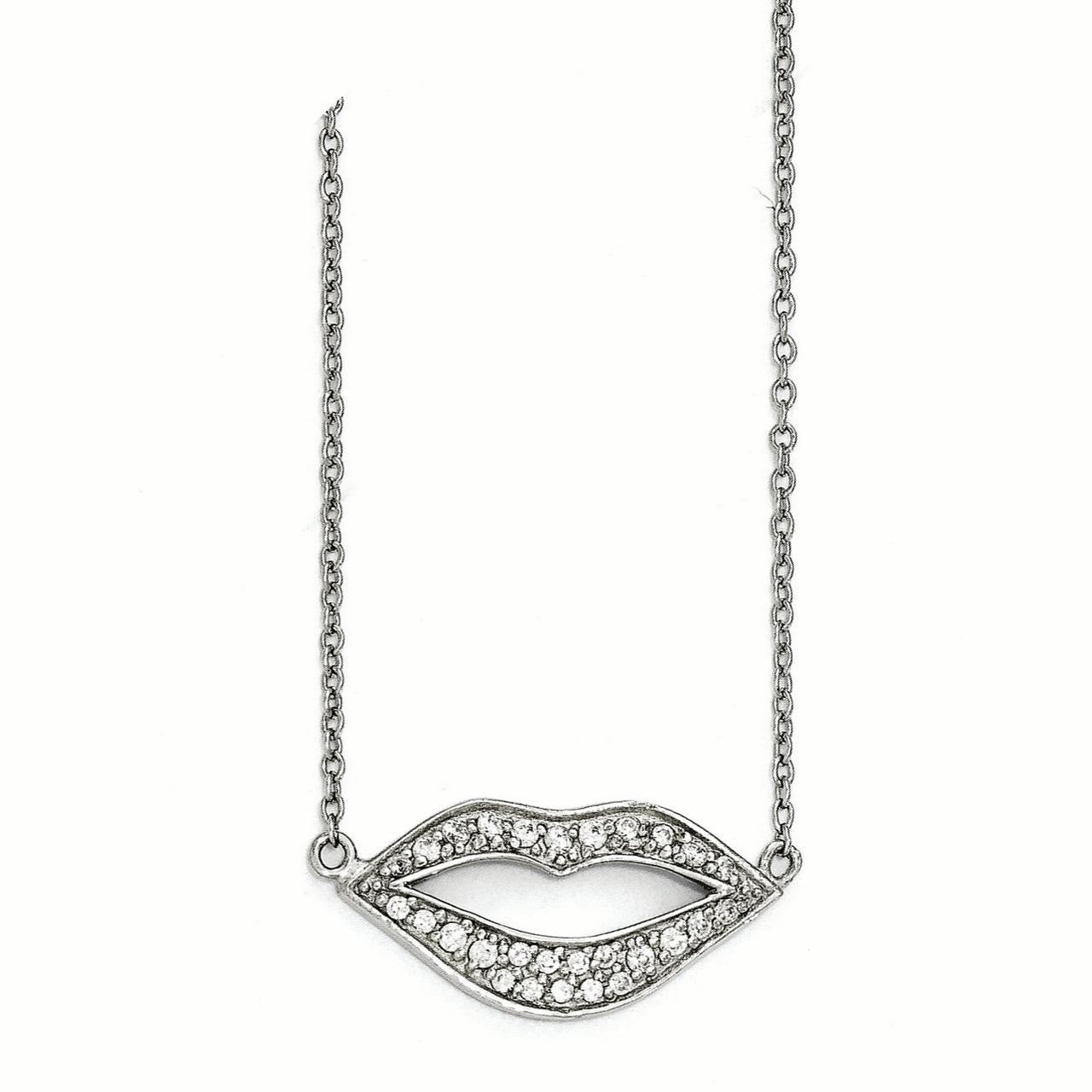 Cheryl M Sterling Silver CZ Lips 18in. Necklace