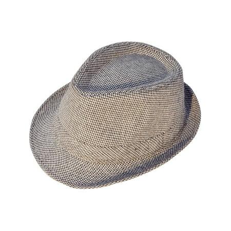 Mens Vintage Sixties Style Wool Fedora Hat, Brown/Beige