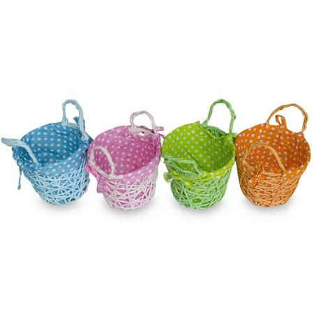Set of 4 Blue, Green, Pink & Orange Fabric Lining Easter Baskets 4 Inches](Plastic Easter Basket)