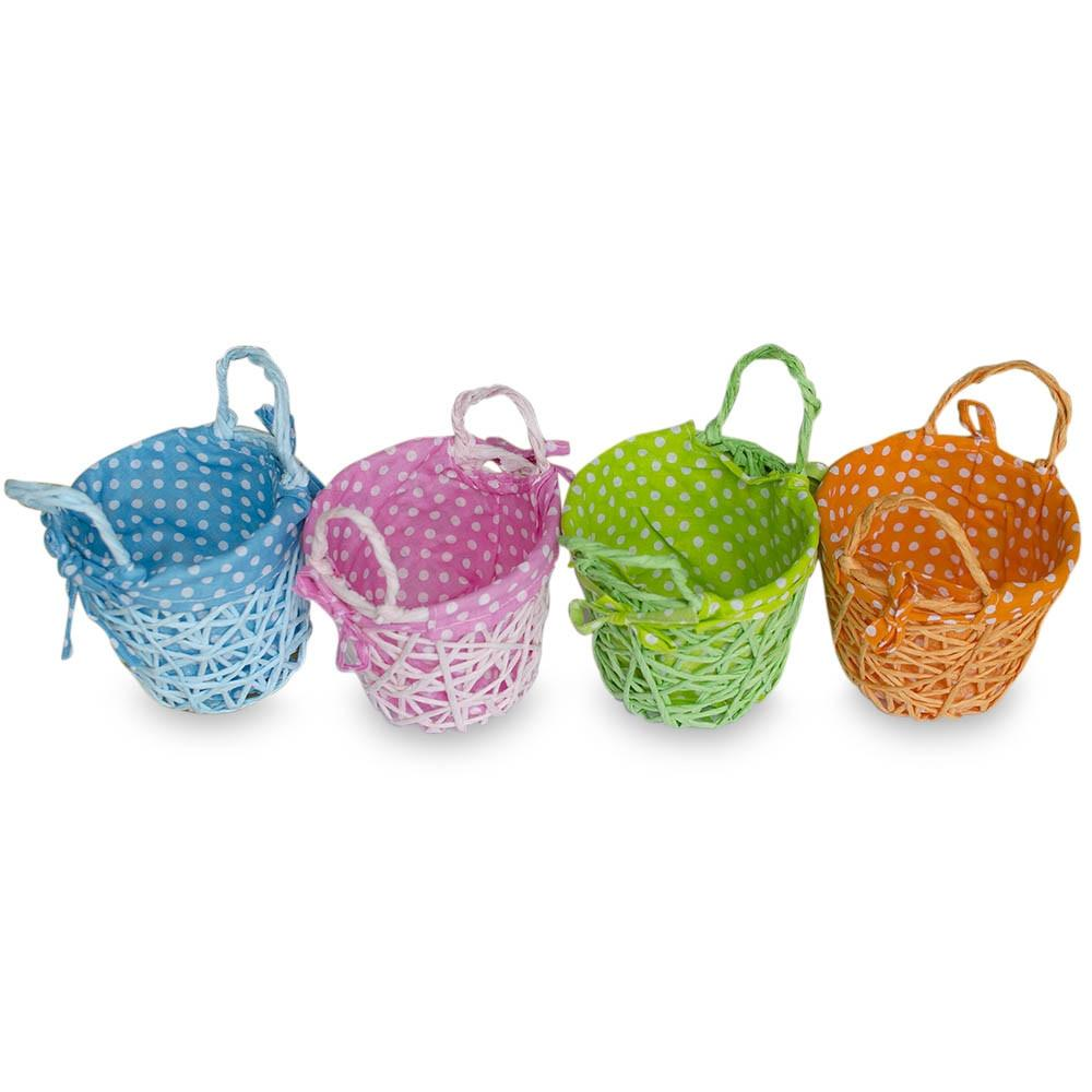 "4"" Set of 4 Blue, Green, Pink & Orange Fabric Lining Easter Baskets"