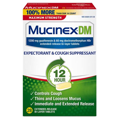 Mucinex DM 12-Hour Maximum Strength Expectorant and Cough Suppressant Tablets - 28 Tablets Mucinex Dm Expectorant
