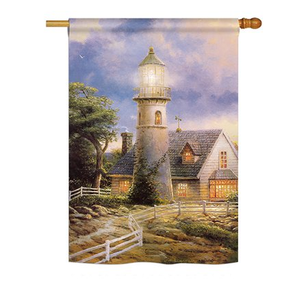 """Ornament Collection - Warm Lighthouse Coastal - Everyday Nautical Impressions Decorative Vertical House Flag 28"""" x 40"""" Printed In USA"""