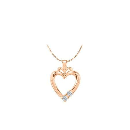 14K Rose Gold Vermeil 2 Stone CZ Family Heart -