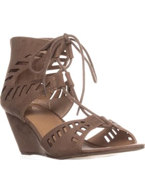 Womens MG35 Halona Lace Up Dress Wedge Sandals, Taupe
