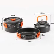 ACCEDE Teapot Set Combination Portable Folding Cookware Set Cooking Pot Pan Kettle Spoon Knife Fork Outdoor Camping Picnic