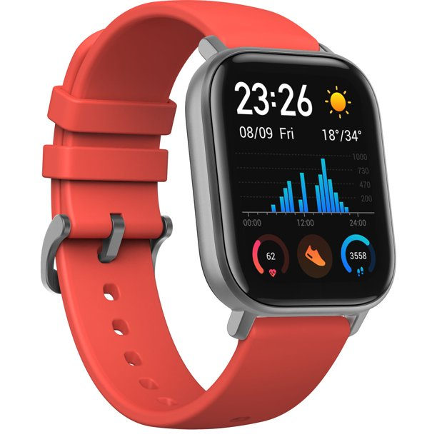 Amazfit GTS Smartwatch with 14-Day Battery Life,1.65 Inch AMOLED Display Customizable Widgets Slim Metal Body,5 ATM Water Resistance,24/7 Heart Rate and Acticity Tracking, Vermillion Orange