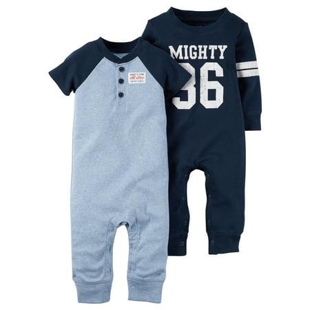 Carter's Baby Boys 2-Pack Cotton jumpsuits Coveralls Set Blue - Blue Jumpsuit