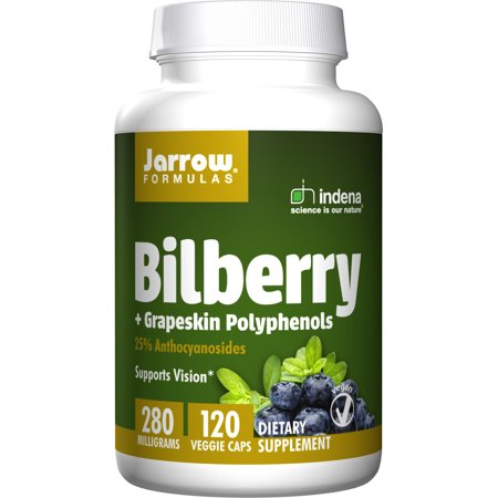 Planetary Herbals Bilberry Eye (Jarrow Formulas Bilberry and Grapeskin Polyphenols 280 mg, Supports Vision, 120 Capsules)