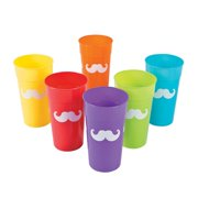 Rainbow Mustache 22Oz Tumblers - Party Supplies - 12 Pieces
