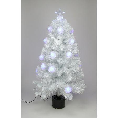 (Northlight Seasonal Iridescent Fiber Optic 3' White Artificial Christmas Tree 18 Single colored lights)
