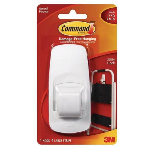 Command Jumbo Plastic Hook with Adhesive Strips 1 ea (Pack of 3)