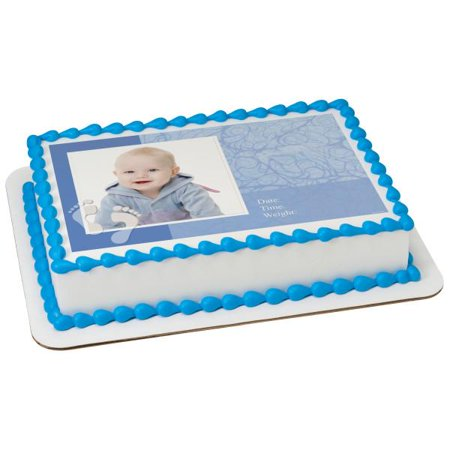 Baby Boy Announcement Edible Cake Topper Frame