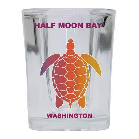 HALF MOON BAY Square Shot Glass Rainbow Turtle (Half Moon Glasses)