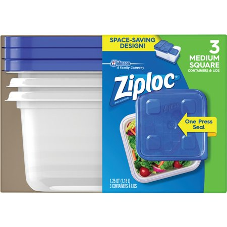 Ziploc Medium Square Containers   Lids   3 Ct
