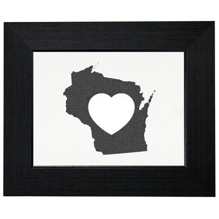 Wisconsin Heart Love Framed Print Poster Wall Or Desk Mount Options