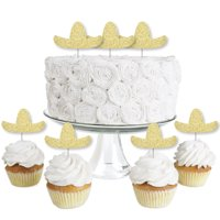 Gold Glitter Sombrero - No-Mess Real Gold Glitter Dessert Cupcake Toppers - Mexican Fiesta Party Clear Treat Picks-24 Ct