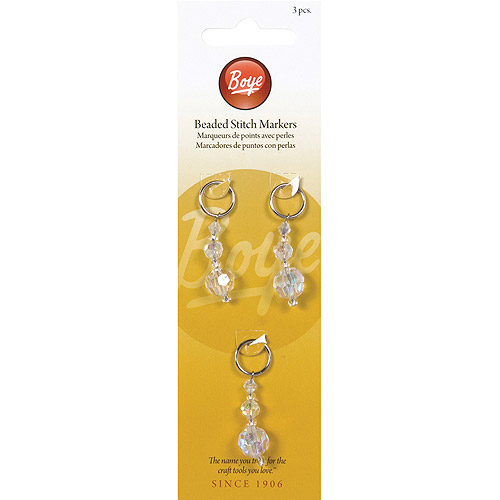 Boye Bead Stitch Markers, Clear, 3-Pack
