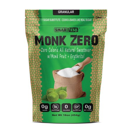 Monk Zero - Monk Fruit Sweetener, Non-Glycemic, Keto Approved, Zero Calories, 1:1 Sugar Substitute Granular 1