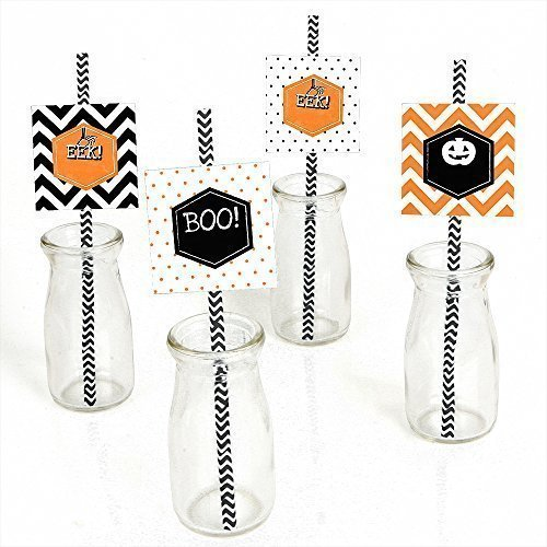 Eat, Drink and Be Scary - Chevron Black and Orange - Square Halloween Party Straw Decor with Paper Straws - Set of 24