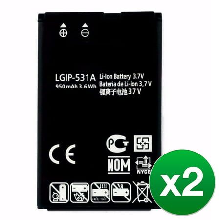 Replacement Battery For LG Fluid Cell Phones - LGIP-531A (950mAh, 3.7V, Lithium Ion) - 2 Pack