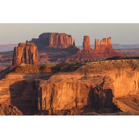 Morning light on monuments from Hunts Mesa, Monument Valley Tribal Park, Arizona Print Wall Art By Adam Jones ()