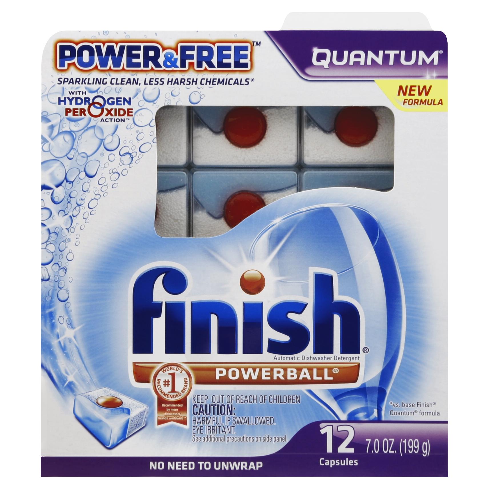 Finish Quantum Dishwasher Detergent, Power & Free, 12 Count