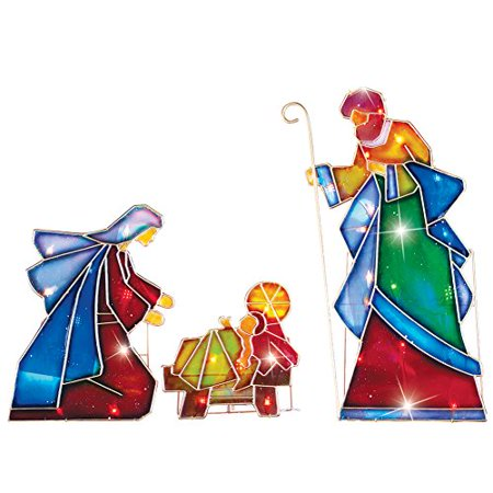 Lighted Outdoor Mosaic Nativity Scene - 3Pc