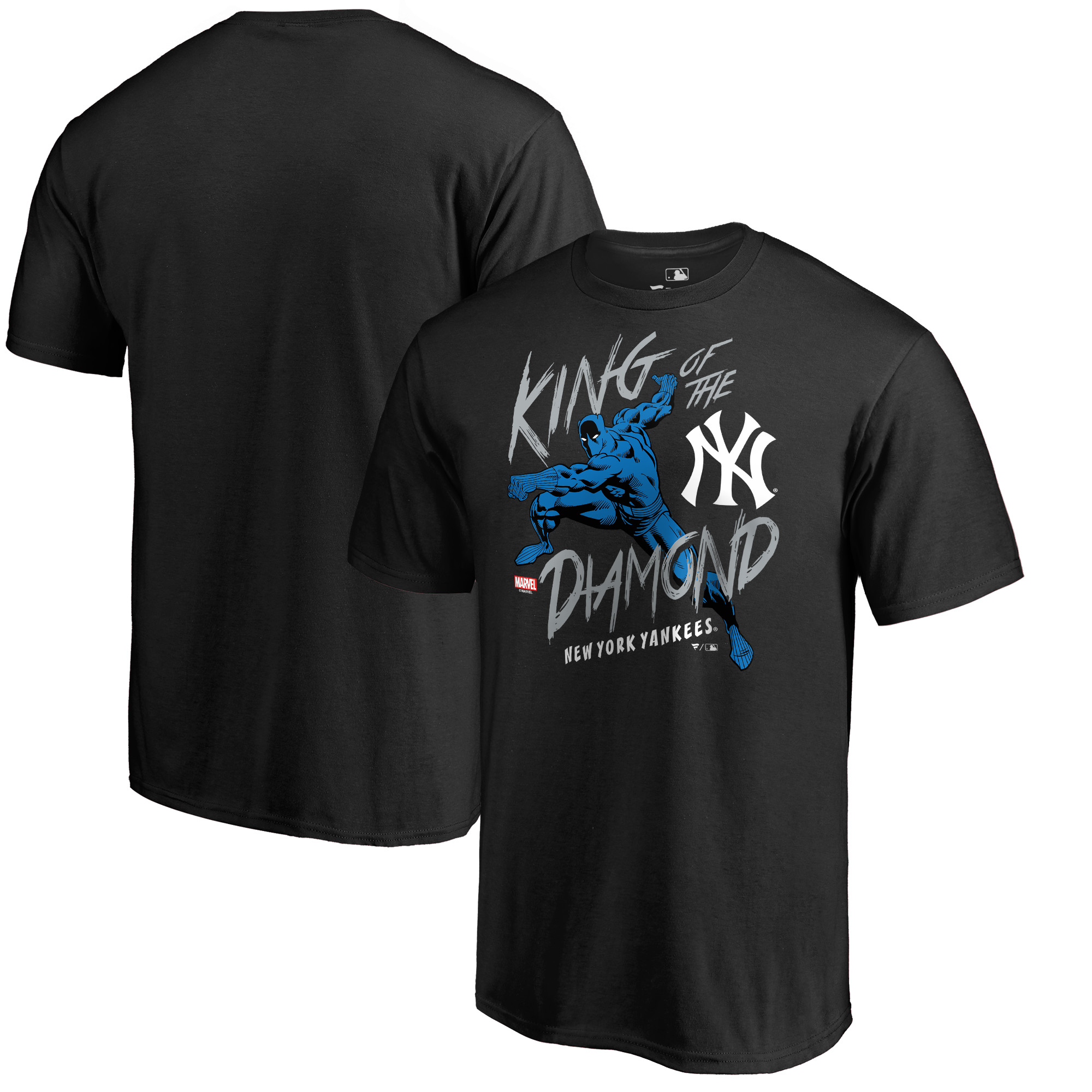 New York Yankees Fanatics Branded MLB Marvel Black Panther King of the Diamond T-Shirt - Black