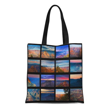 ASHLEIGH Canvas Tote Bag Photograph Grand Canyon Nature Landscape Collage Scenic Family Vacation Reusable Handbag Shoulder Grocery Shopping Bags