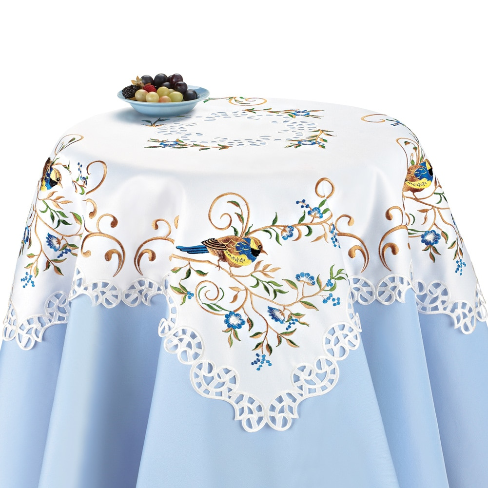 Embroidered Floral And Birds Lacy Table Linens, Runner, Blue by Collections Etc