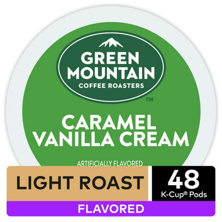 Green Mountain Coffee, Caramel Vanilla Cream, Single-Serve Keurig K-Cup Pods, Light Roast, 48 Count (2 Boxes of 24 Pods)