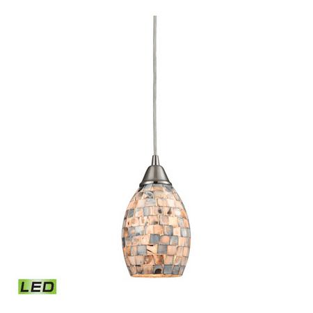 Pendants 1 Light LED With Satin Nickel Finish Gray Capiz Shell Glass Medium Base 5 inch 9.5 Watts - World of Lamp