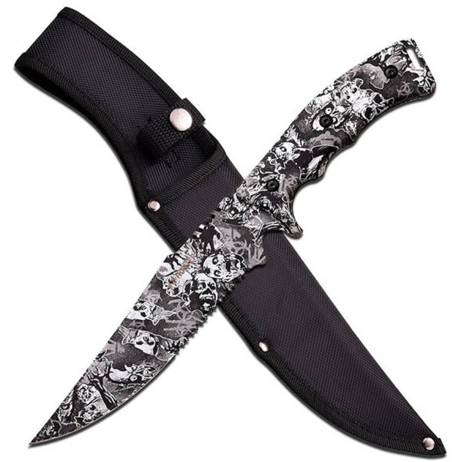 """Z-Hunter Fixed-Blade Knife, 8"""" Zombie Skull Camo Coated Knife"""