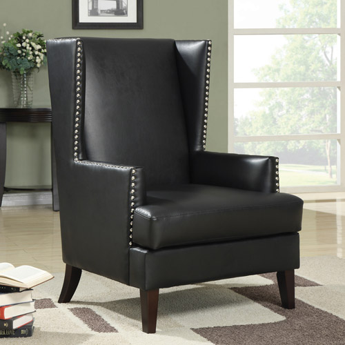 Coaster Traditional Leatherette Accent Chair, Black